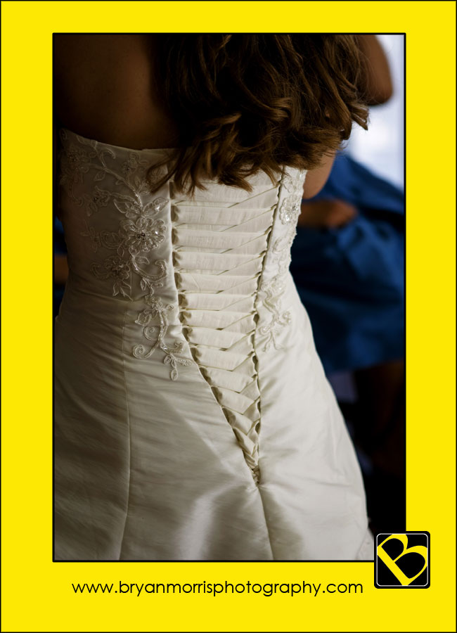 Details at the back of the wedding dress