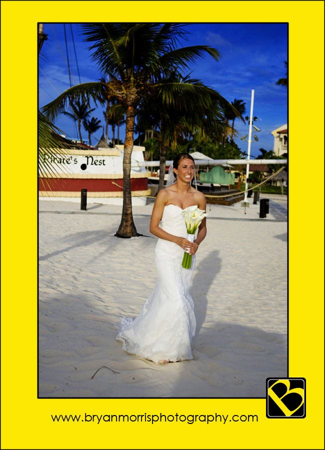 Bride Walking Down Sand Aisle On The Beach In Aruba