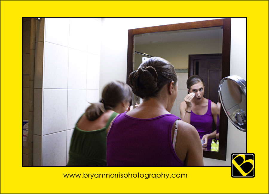 Bride Getting Ready In Mirror