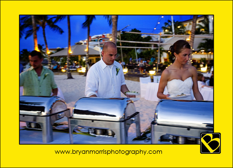 Bride And Groom Opening Buffet Line