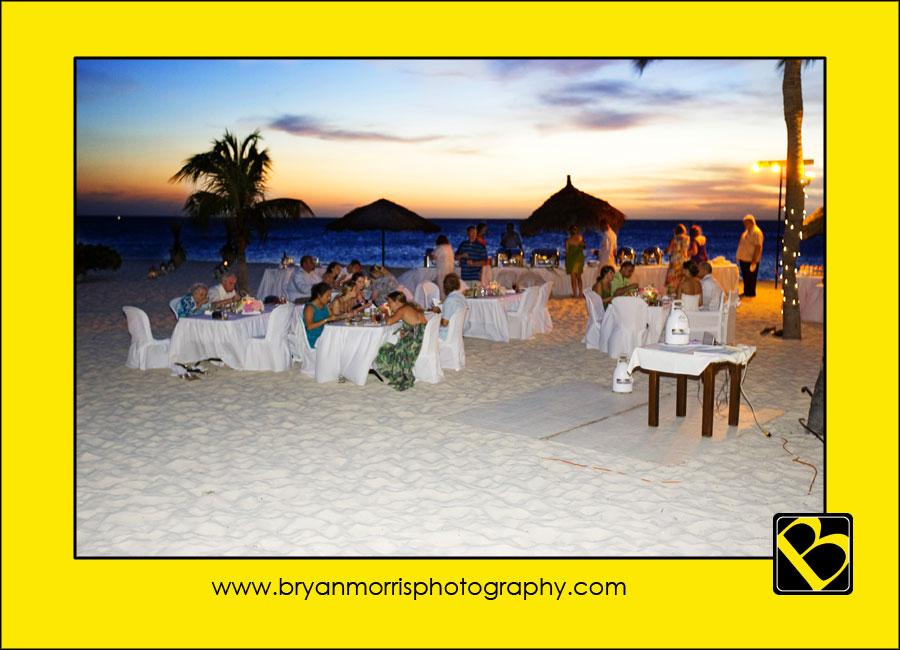 The Wedding Reception On The Beach At The Bucuti Beach Resort Aruba