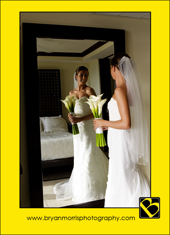 Bride Making Last Minute CHecks In Mirror